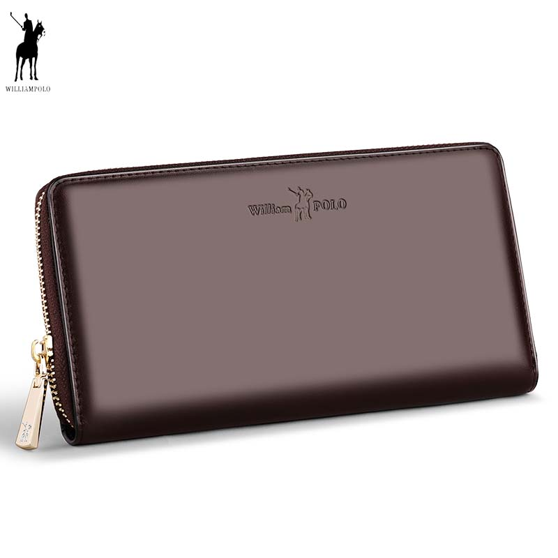 Business Men Long Genuine Leather Clutch Bags WILLIAMPOLO Phone Checkbook Credit Card Holder Wallet cowhide Fashion Zip Design men pu leather credit card holder billfold wallet purse checkbook clutch