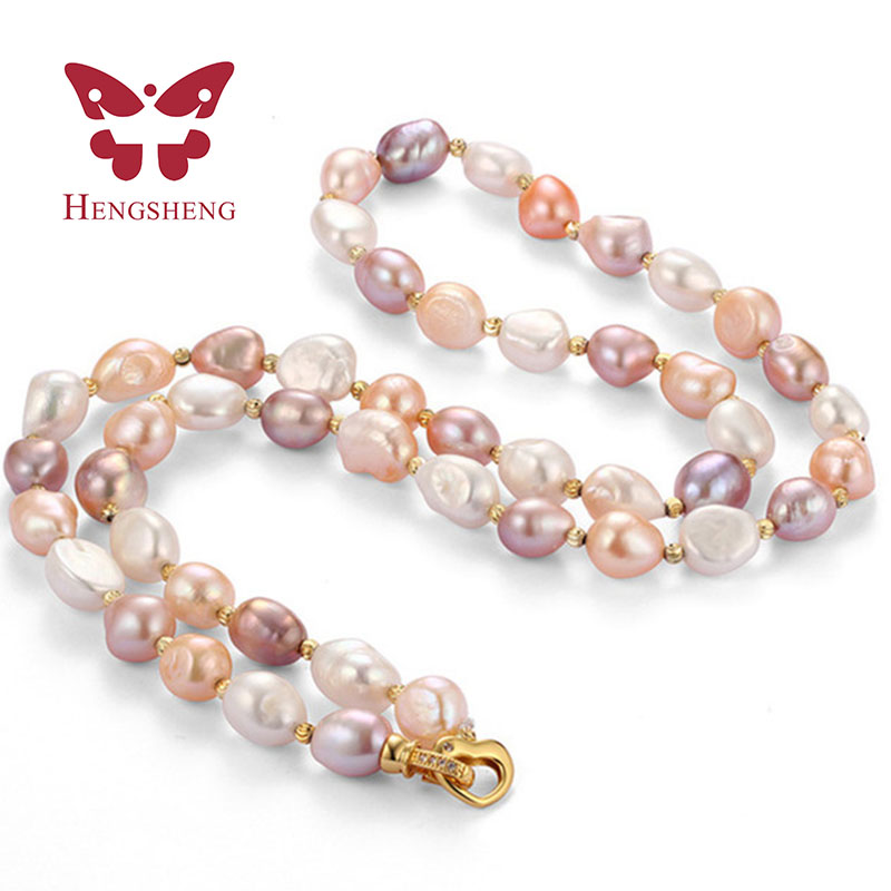2017 New arrival mix baroque pearl necklace for mom gift, 9-10mm beautiful 45cm women sweater necklace jewlery