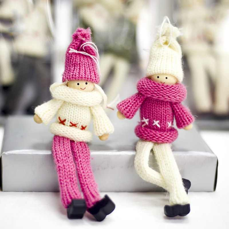 2pcs Kawaii Knitted Christmas Tree Hanging Dolls Pendants Desktop Ornaments For Holiday Home Party Decor New Year Xmas Kids Gift