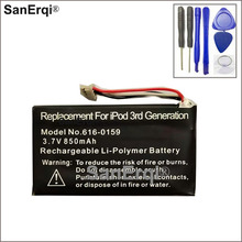 SanErqi Battery 3.7V 850mA Battery For iPod 3G 3rd Generation 616-0159 Battery with Tools
