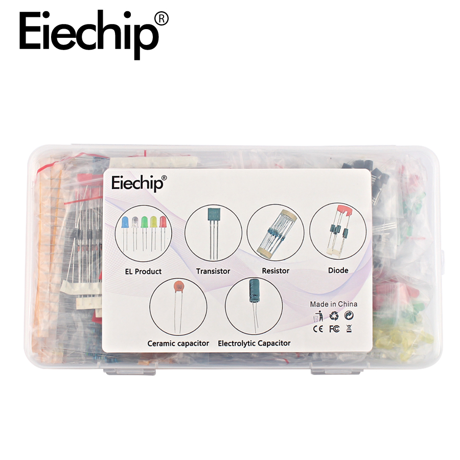 US $12 9 30% OFF|Electrolytic Capacitor Ceramic kit Resistor led diodes set  transistor Package diy assortment electronic components kits with box-in