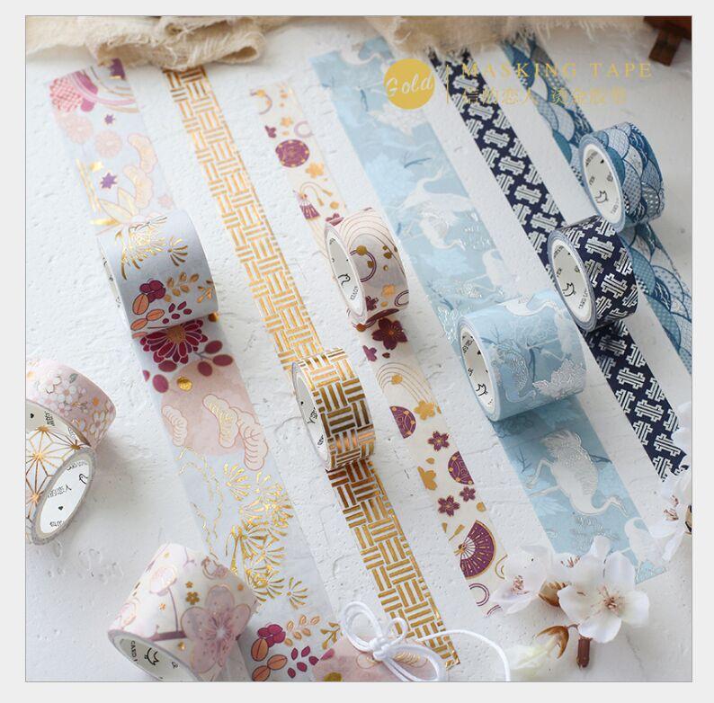 3pcs/box Gold Foil Japanese Sakura Flower/fan/crane/Japanese Zen Washi Tape DIY Planner Diary Scrapbooking Masking Tape Escolar
