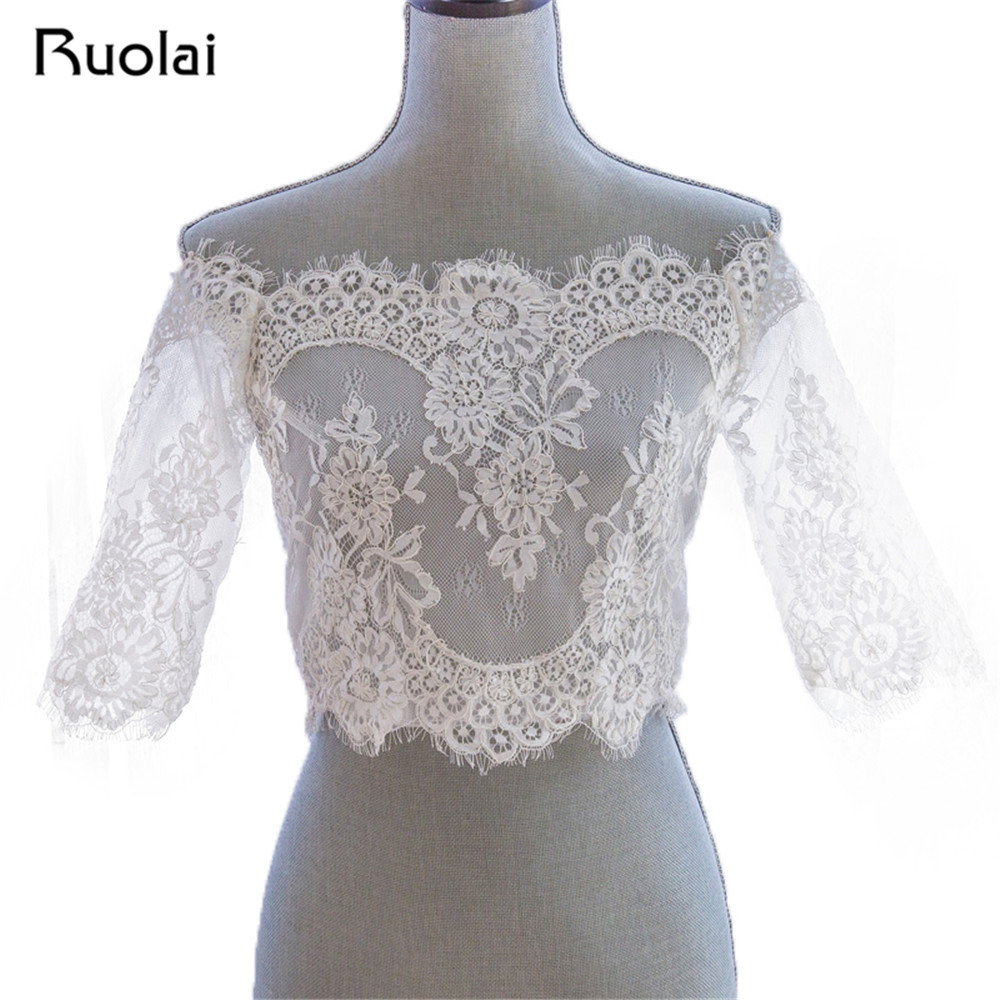 Romantic Tulle Bolero Wedding Half Sleeve Lace Off Shoulder Wedding Jackets Lace Up Back Wraps Bolero Bridal Accessories FJ05