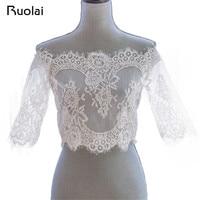 Romantic Tulle Bolero Wedding Half Sleeve Lace Off Shoulder Wedding Jackets Lace Up Back Wraps Bolero Bridal Accessories FJ05
