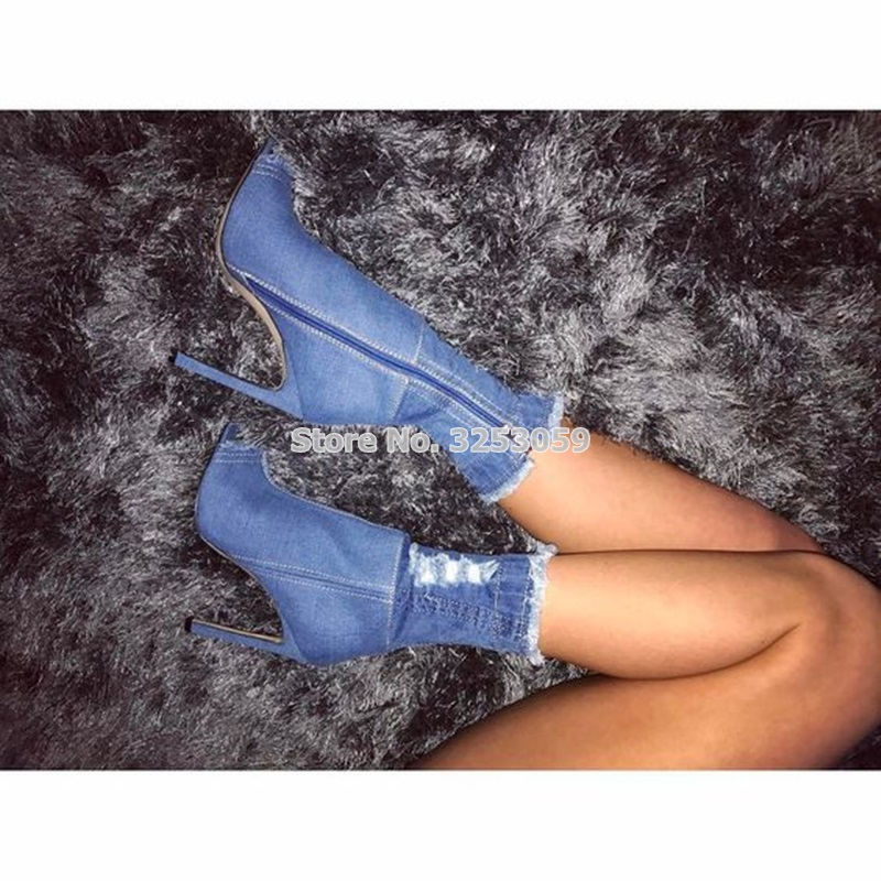 цена на Luxurious Brand Retro Stylish Ripped Jeans Boots Mid-calf Exposed Heel Dress Shoes Peep Toe Blue White Black Sandal Boots US10