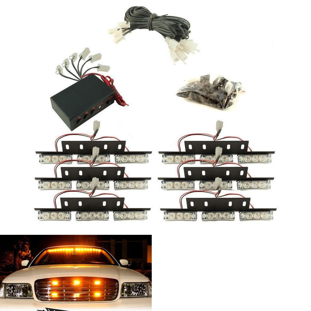 BBQ@FUKA 54 LED Car Amber Emergency Strobe Light Lamp Bar Warning Deck Dash Grille Fit for Ford Focus F-150 G-M-C Sierra 2500