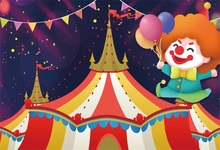 Laeacco Cartoon Tent Clown Circus Party Baby Child Photographic Backgrounds Customized Photography Backdrops For Photo Studio