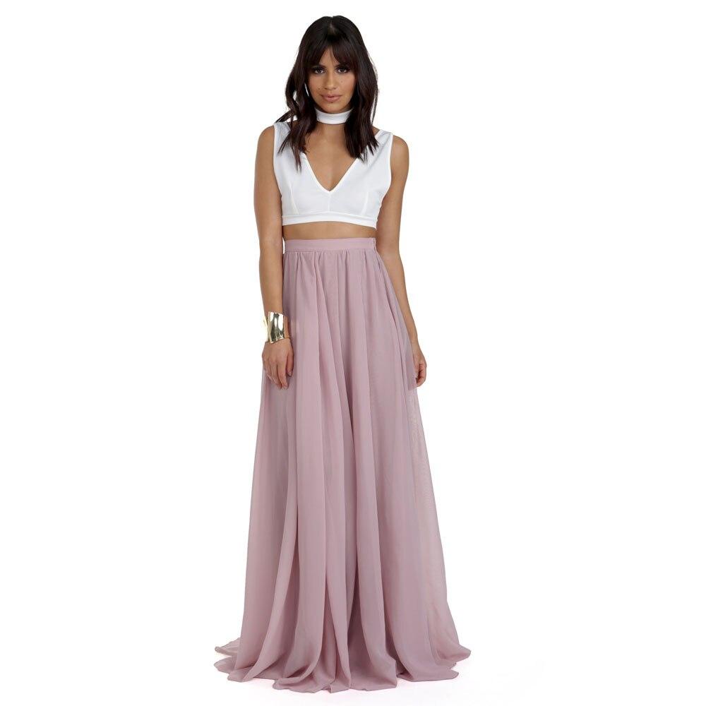 7ba6a27b8 Nuevas faldas de chifón largas hasta el suelo de verano de 2017 para mujer  Color malva de moda ...