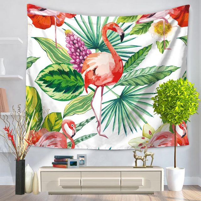 CHARMHOME Palm Leaves Flamingo Pattern Tapestry Polyester Fabric Wall  Hanging Tapestry For Bedroom Living Room Dorm