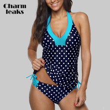 Charmleaks Women Tankini Set Colorblock Swimwear Side Bandages Polka Dot Swimsuit Padded Bandage Bathing Suit