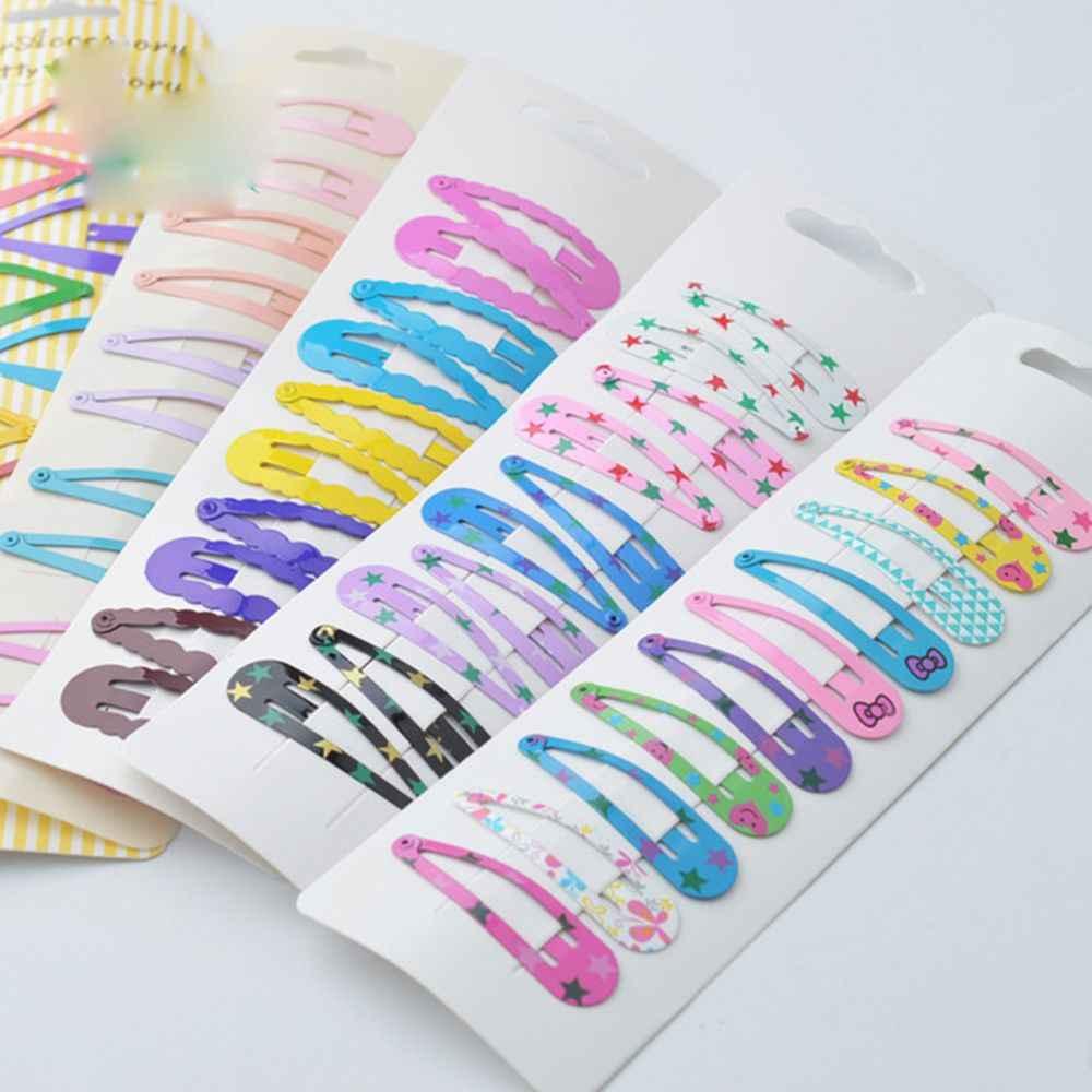 10 個の高品質印刷スナップヘアクリップ子供のための Matel ヘア日常生活のためのヘアアクセサリークリップホット