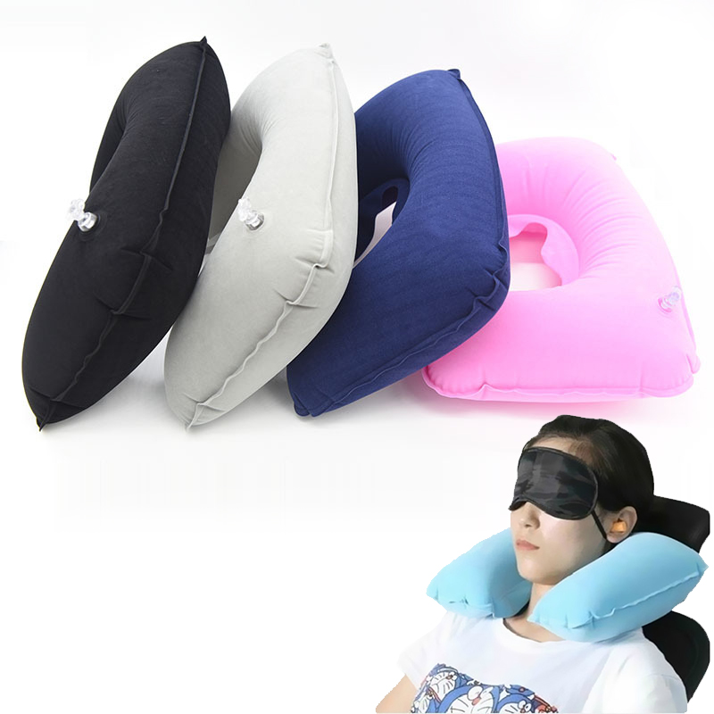 1 Pc Inflatable Pillow Air Cushion Neck Rest U-Shaped Compact Plane Flight Travel Pillows Home Textile Drop Shipping 26.5cmx44cm