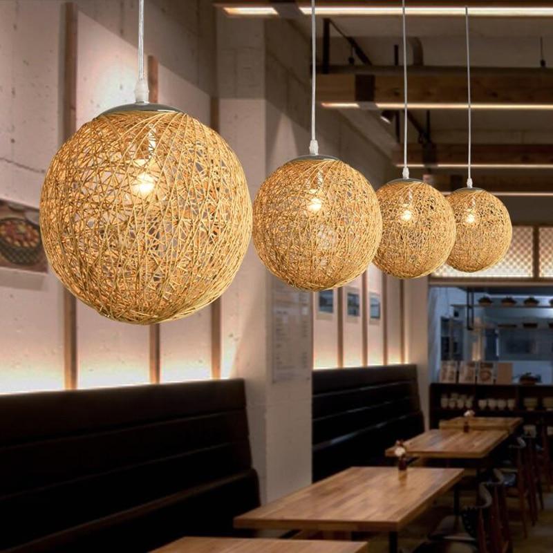 Rattan Field Pasta Ball E27 Led Pendant Light Creative