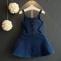 Denim Jeans Navy Girl Summer Suspender Dress Girls Ruffle Raglan Design Light Wash Special Backside Age