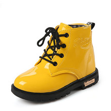 купить Children Motorcycle boots PU Leather Waterproof Martin Boots Winter Kids Snow Boots Brand Girls Boys Shoes Rubber Boots дешево