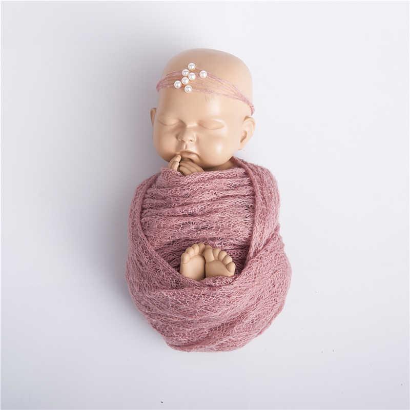 40*150 cm Pasgeboren Baby Mohair Fotografie Wraps Deken Met Parel Hoofdband Hoofddeksels Zuigeling Zachte Gebreide Wrap Doek Accessoires