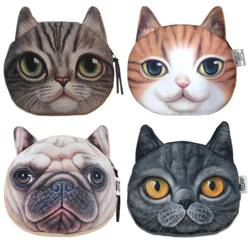 2018 Top Fashion 3D Cute Cat Face Printing Zipper Coin Purse Women Cartoon Dog Children Coin Wallet Ladies Makeup Storage Bag 2017 new coin purses wallet ladies 3d printing cats dogs animal big face change fashion cute small zipper bag for women pouch