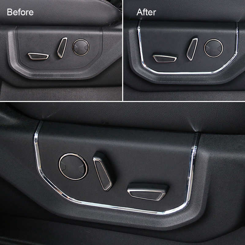 For Ford F150 F-150 2015-2019 Car Styling ABS Glossy Interior Seat Adjustment Strip Trim Car Accessories 2pcs