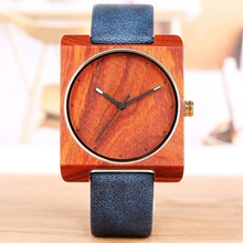 Unique Wood Watch for Men Creative Square Round Dial Leather