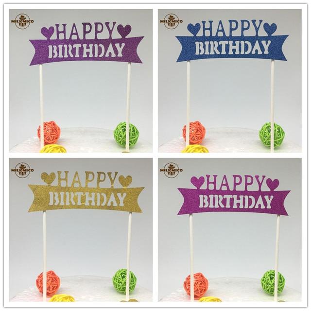 1 Pz Glitter Cupcake Cake Topper Torta Di Buon Compleanno Bandiere