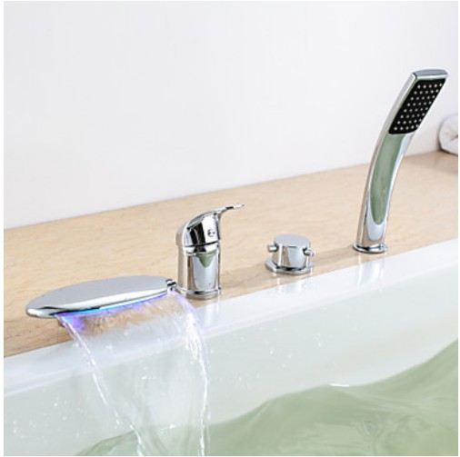 Contemporary Chrome Finish Three Handles LED Tub Faucet with Hand Shower
