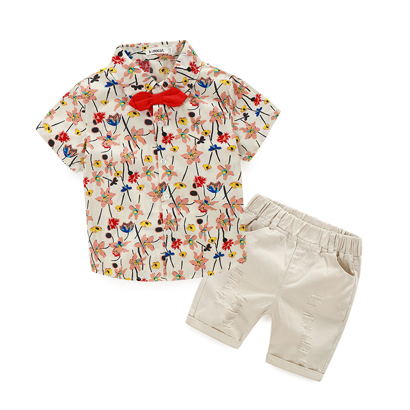 New kids clothing set baby boy fashion t shirt short pants children set for summer boy flower clothes fits 3 colors 2017 brand summer boy sport print a clothing set short sleeve t shirt short pants summer boy school fashion clothes set