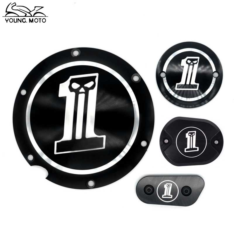 Black Motorcycle Black No.1 Skull Derby Timer Cover Timing For Harley Harley Davidson Sportster Iron XL 883 1200 72 48 2004-2017