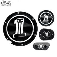 2016 New Motorcycle Black No 1 Skull Derby Timer Cover Timing For Harley Road King Softail