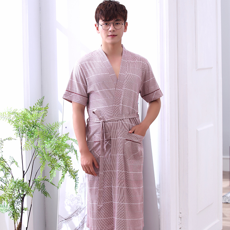 New Summer 100%Cotton Mens Stripesd Bathrobe Short Sleeve V-neck Cardigan Loose Plus Size L-XXXXL Casual Robe Free Shipping