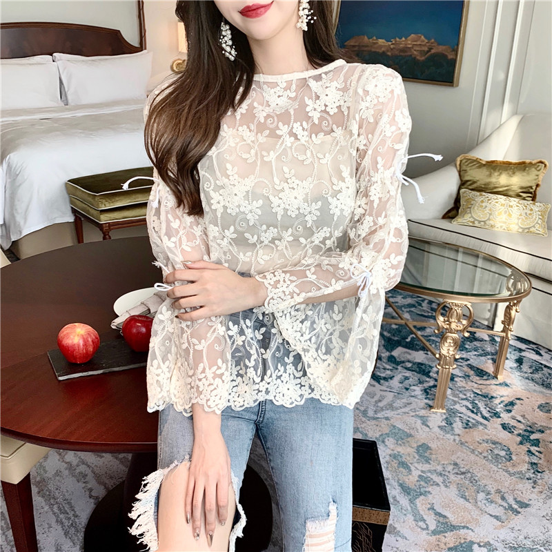 Women Spring White Lace Top with Sling New 2019 Fashion Elegant Sheer Lace Shirts sweet Transparent Flare Sleeve Sexy Blouse