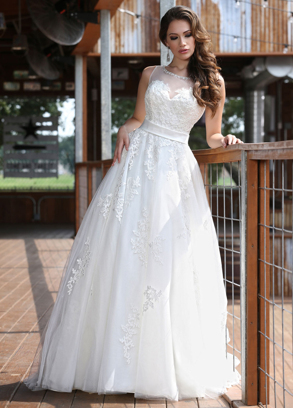 Allure wedding dress sheer neck a line flores para noivas for Wedding dress with illusion top