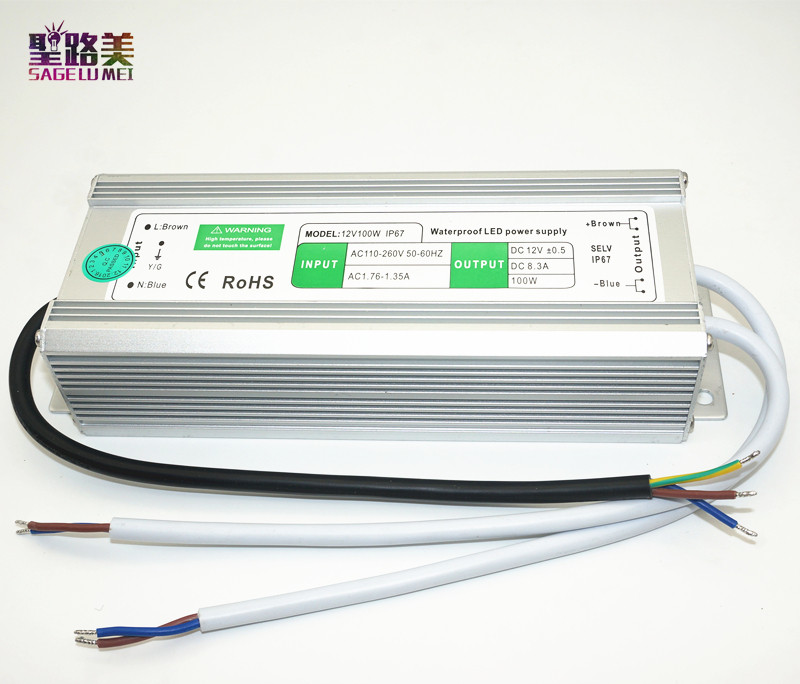AC110V-220V to DC12V Power Supply 10W 20W 30W 50W 80W 100W IP67 Waterproof 24V LED Transformer Electronic Aluminum alloy Driver