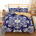 HELENGILI 3D Bedding Set Bohemia Print Duvet Cover Set Lifelike Bedclothes with Pillowcase Bed Set Home Textiles #2-03