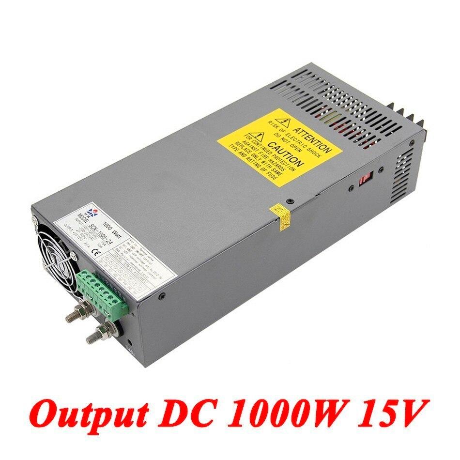 Scn 1000 15 1000 Вт 15 В 66a, высокой мощности один Выход AC DC Импульсный источник питания для прокладки водить, AC110V/220 В трансформатор к DC 15 В