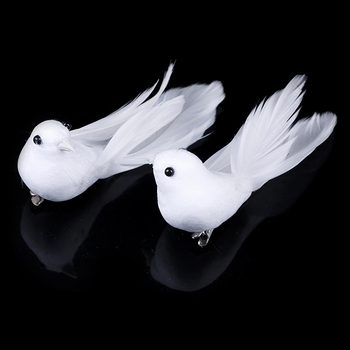 2pcs/set Artificial Foam Feather Lifelike Beads Simulation Bird DIY Party Crafts Ornament Props Home Garden Wedding Decoration 1