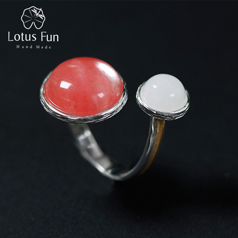 Lotus Fun Real Solid 925 Sterling Silver Rings for Women Fashion Double Balls Finger Band Open