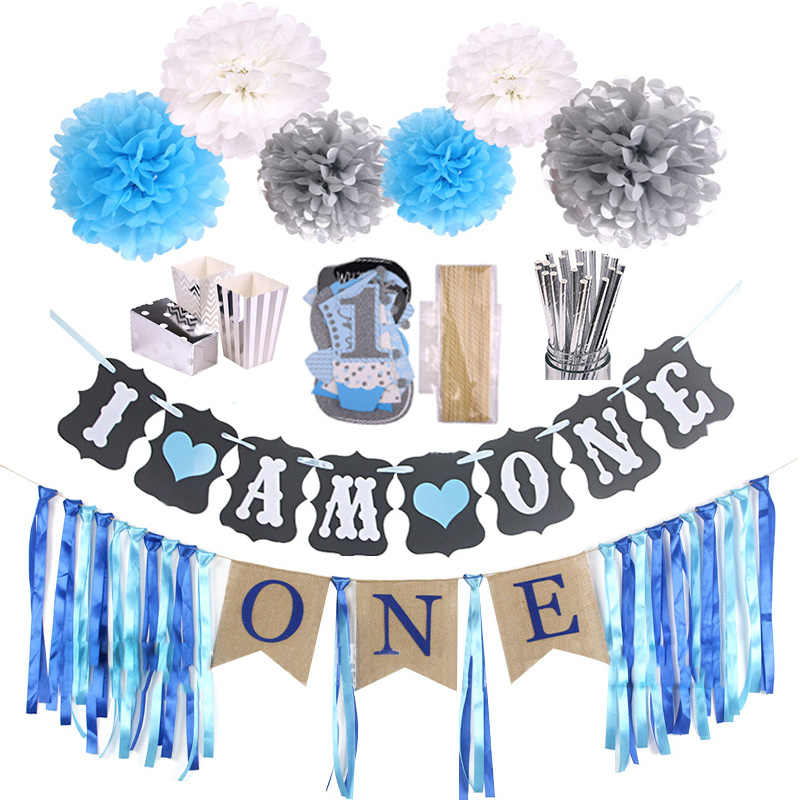 Baby Boy 1st Birthday Photo Booth Props First Party Decorations Fun One Year