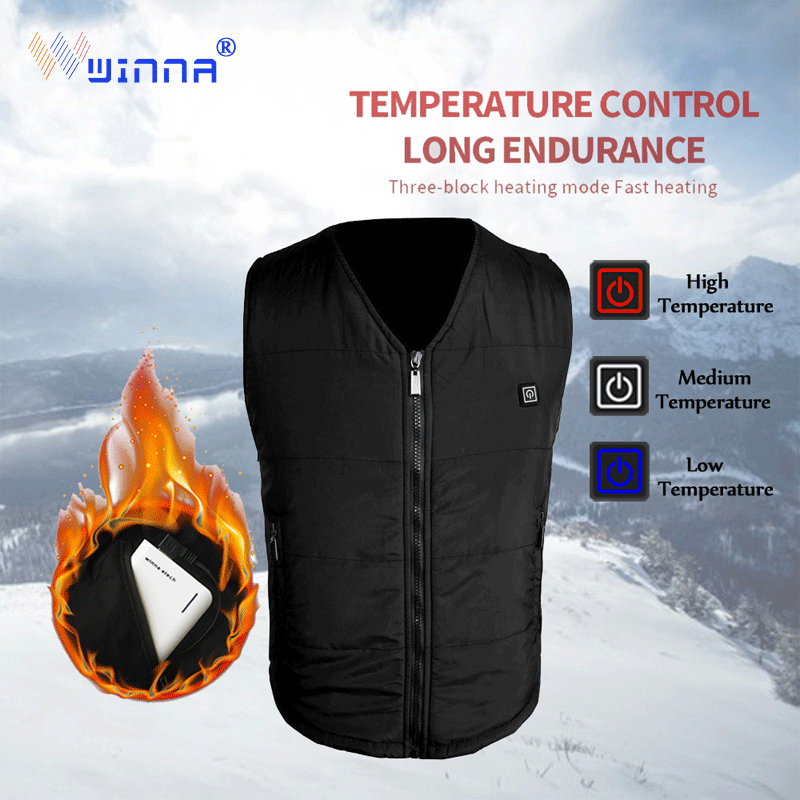 2018 Men Women USB Infrared Heating Vest Winter Outdoor Jacket Electric Thermal Waistcoat Clothing For Sports Hiking Climbing