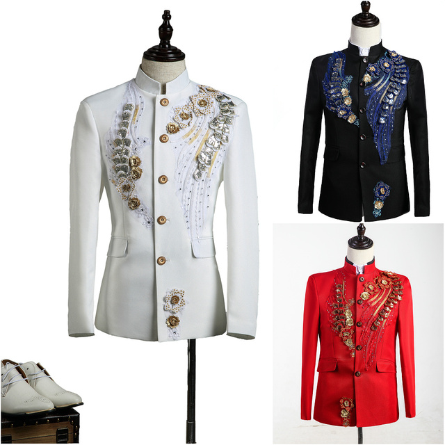 (Paletó + calça) terno masculino conjunto blazer vestido dancer cantor desempenho show de boate magro casamento prom flor noivo bordado