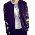Print Style Autumn Spring Men Popular Jacket Casual O-neck  Outerwear Casual Clothes Baseball Jacket Male Slim Patchwork Coat