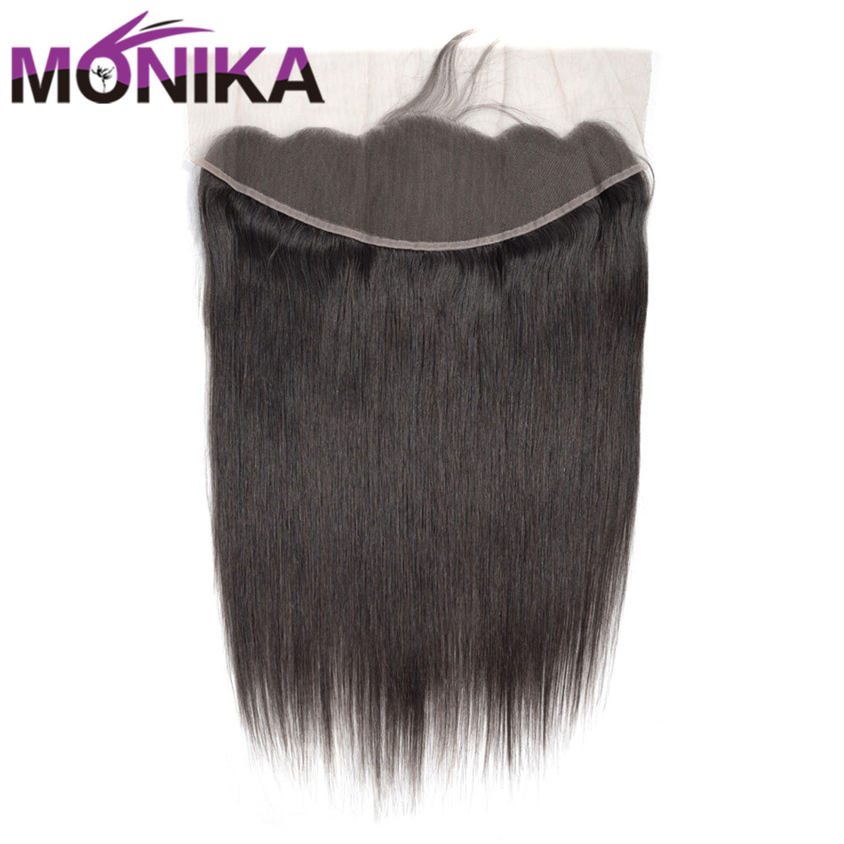 Malaysian Straight Hair Lace Frontal 13*4 Ear to Ear Pre Plucked Frontal Closure With Baby Hair Swiss Lace Non Remy Monika Hair