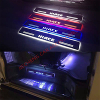 2PCS/SET led moving running board captur door sill plates scuff LED scuff plate plate door fit for HIACE 2014 2018 CAR sill door