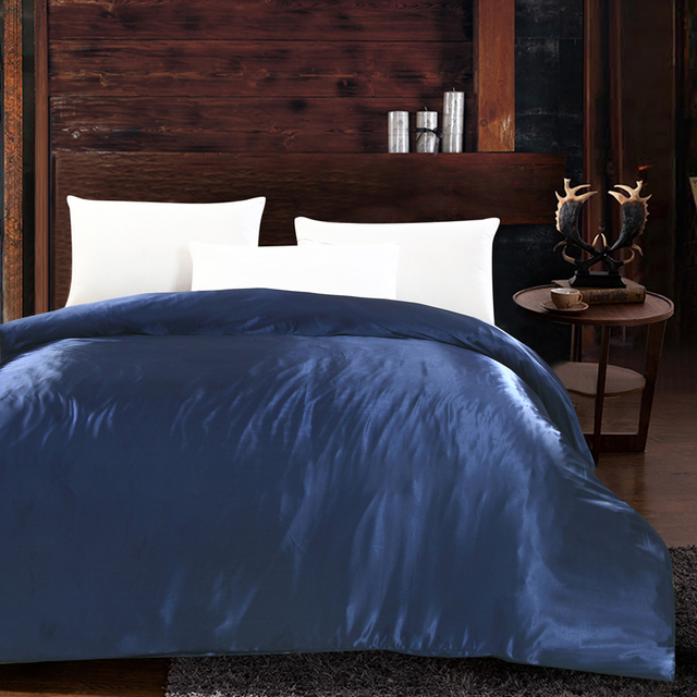 Luxury Home Textiles Duvet Cover Silk Satin Twin Queen King Size Quilt Solid Color