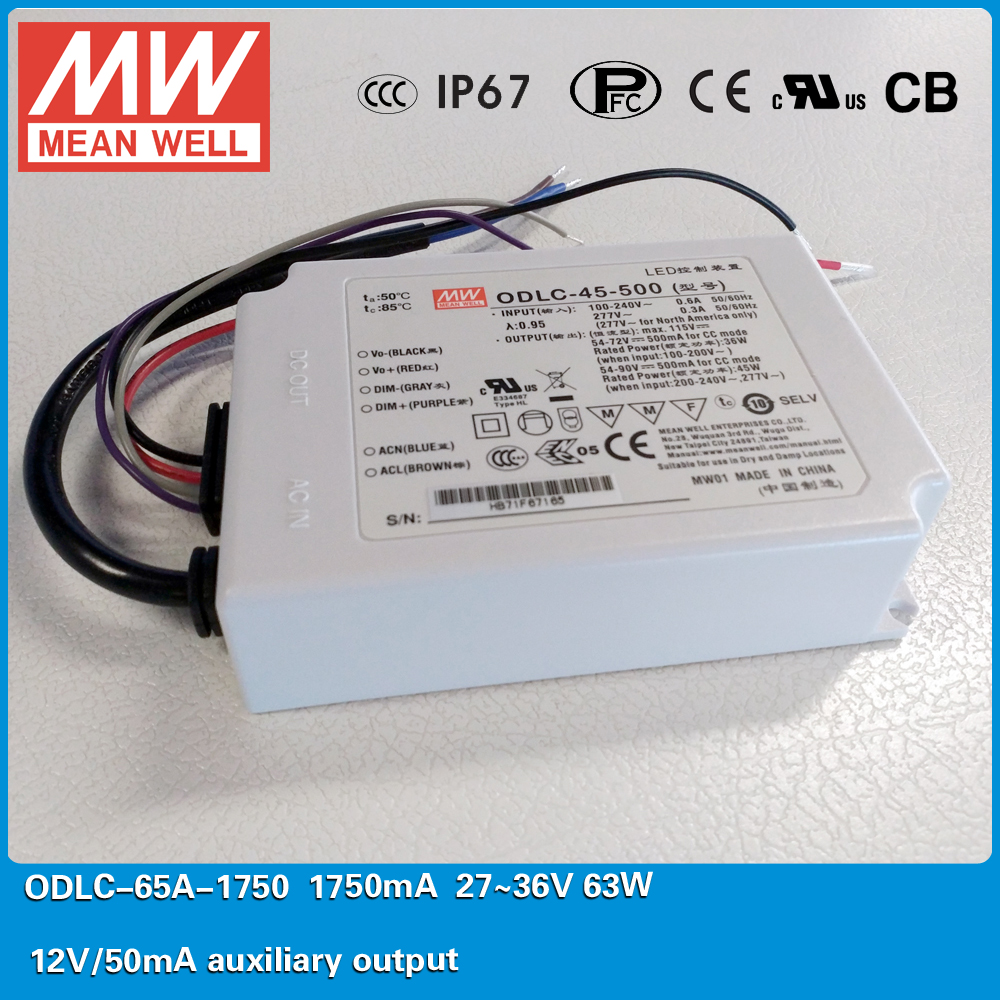 Original MEAN WELL Flicker free LED Power Supply ODLC-65A-1750 63W 1750mA 27~36V with 12V/50mA auxiliary output