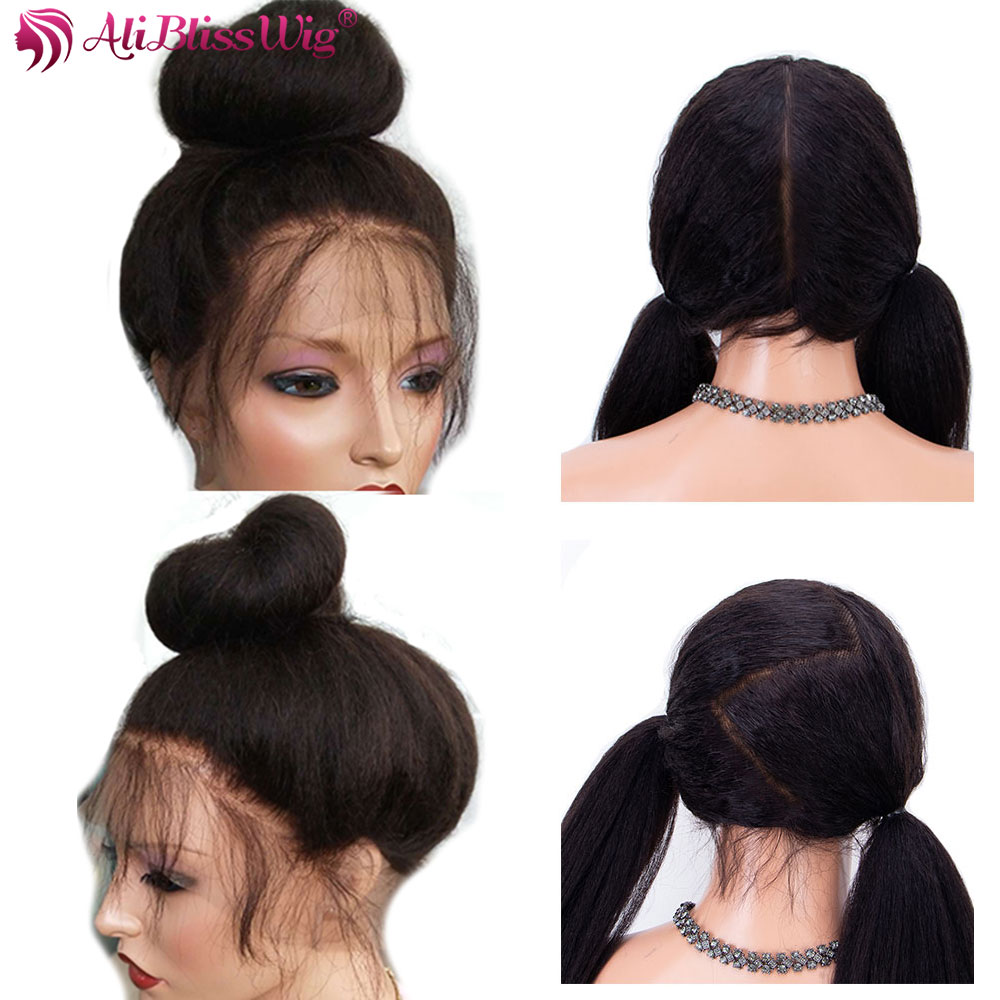 Italian Yaki Full Lace Human Hair Wigs For Black Women Kinky Straight Lace Front Wigs Brazilian Remy Pre Plucked Bleached Knots(China)