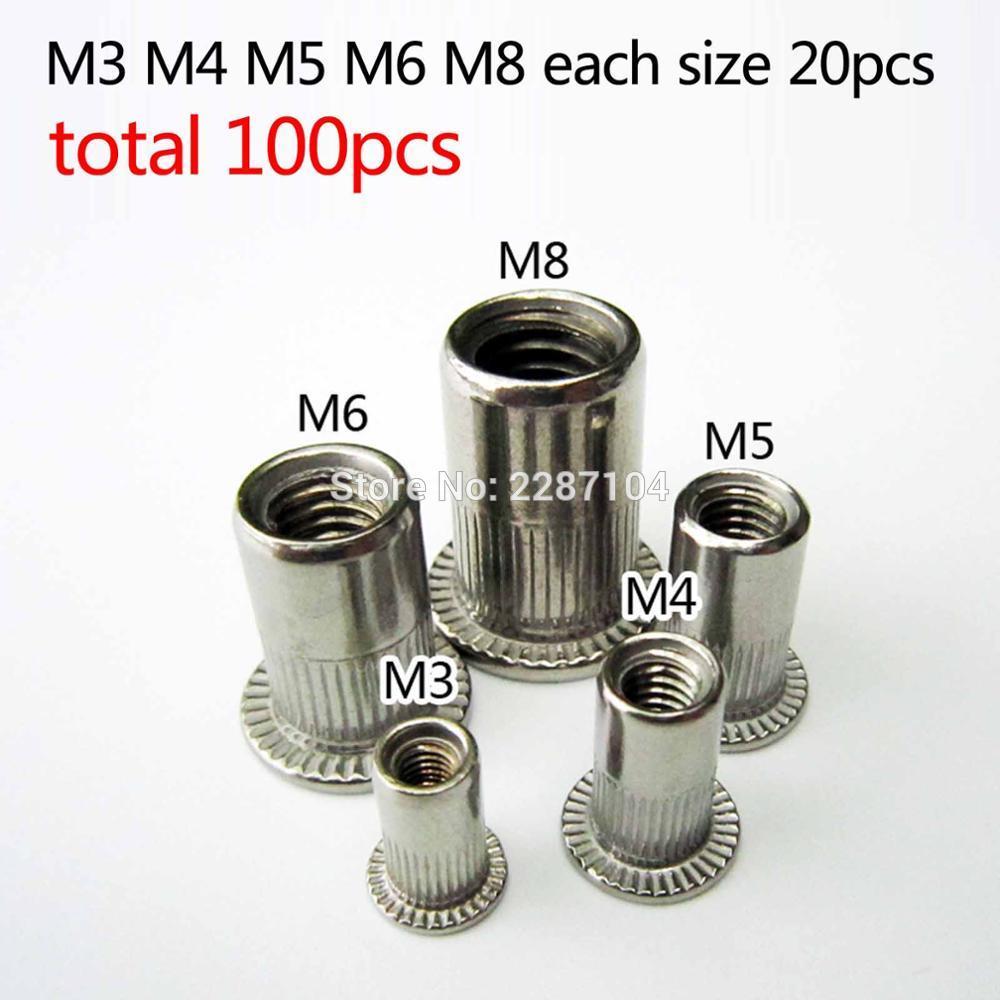 10pcs M5 Rivets Stainless Steel Flat Head Thread Rivet Screw Metal Rivet 6-50mm