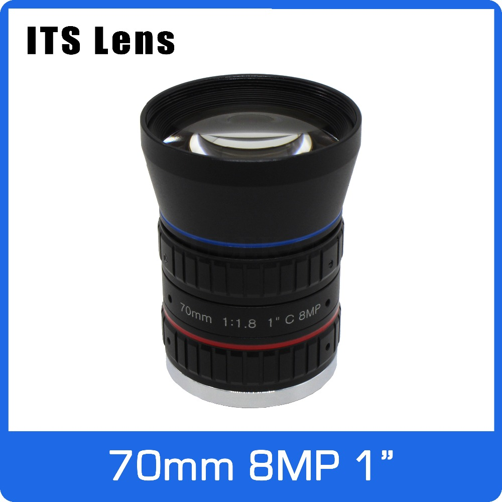 1 Inch 8mp Its 4k Lens 70mm F1.8 Long Distance View 200 Meters Max Low Distortion C Mount For Electronic Police Traffic Camera