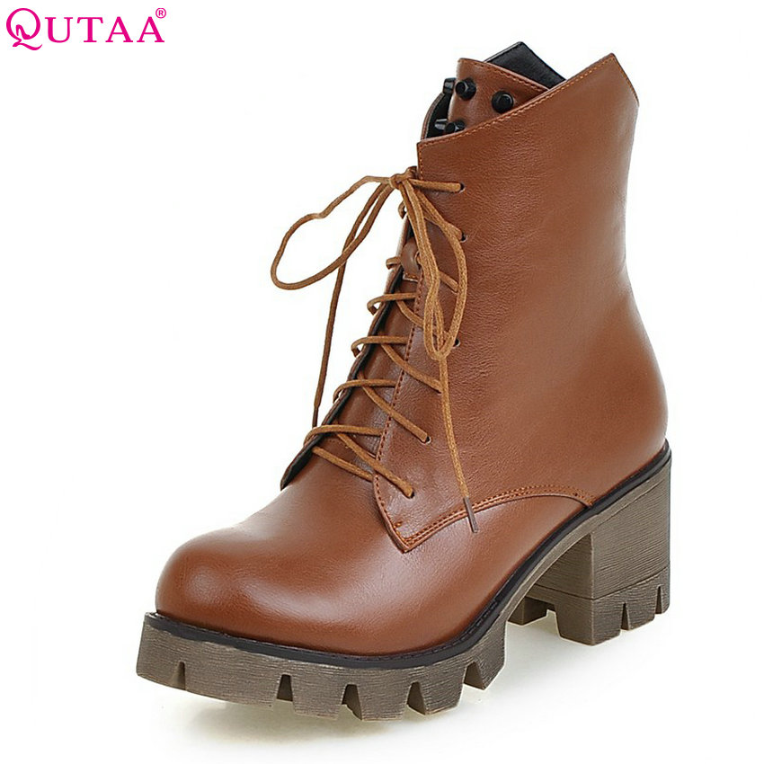 QUTAA 2018 Women Ankle Boots Square High Heel Round Toe Lace Up Spring and Autumn Fashion Pu Leather Ladies Boots Size 34-43 hot sale high quality 2016 fashion ankle boots for women square heel black lace up round toe genuine leather boots