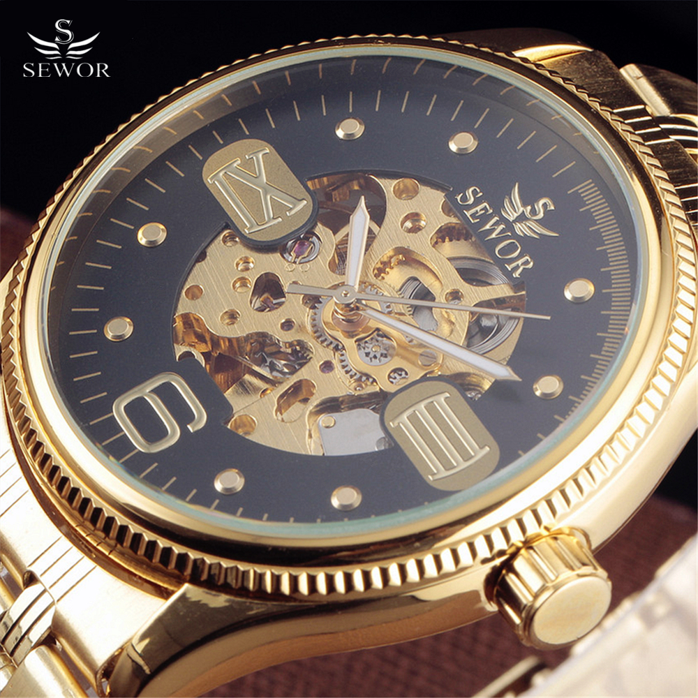SEWOR Brand Tags Watch Men Luxury Gold Skeleton Automatic Mechanical Watches Men's Fashion Big Dial Stainless Steel Wristwatches fashion men mechanical hand wind watches men skeleton stainless steel wristwatches for male luxury golden watch men