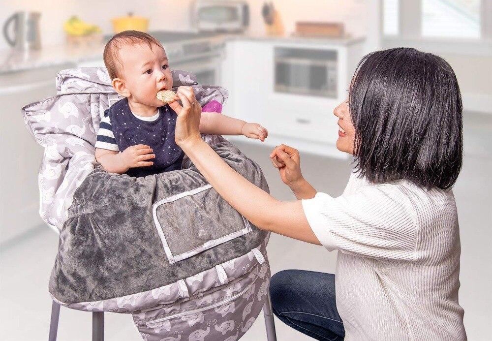 Роскошные 2-в-1 Детские покрывало для магазиннной тележки& высокое чехлы на стулья с ремнями безопасности для младенцев и детей ясельного возраста(унисекс серый